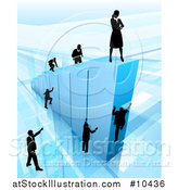 Vector Illustration of a 3d Blue Bar Graph with Silhouetted Business Men and Women Competing to Reach the Top by AtStockIllustration