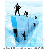 Vector Illustration of a 3d Blue Bar Graph with Silhouetted Business Men Competing to Reach the Top by AtStockIllustration