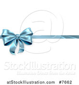 Vector Illustration of a 3d Blue Christmas, Birthday or Other Holiday Gift Bow and Ribbon over Shaded White by AtStockIllustration