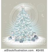 Vector Illustration of a 3d Blue Christmas Tree and Gifts over Beige by AtStockIllustration
