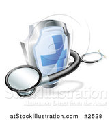 Vector Illustration of a 3d Blue Cross Shield and Medical Stethoscope by AtStockIllustration