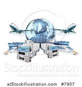 Vector Illustration of a 3d Blue Earth Globe and Cargo Logistics Modes, Trains, Planes Big Rig Trucks, and Ships by AtStockIllustration