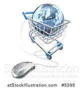 Vector Illustration of a 3d Blue Earth Globe in a Computer Shopping Cart by AtStockIllustration