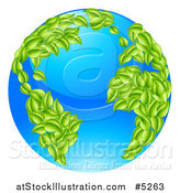 Vector Illustration of a 3d Blue Earth Globe with Leaf Continents, Featuring the Atlantic by AtStockIllustration