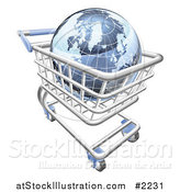 Vector Illustration of a 3d Blue Globe in a Shopping Cart by AtStockIllustration