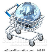 Vector Illustration of a 3d Blue Grid Globe in a Shopping Cart by AtStockIllustration