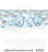 Vector Illustration of a 3d Blue New Year 2016 and Baubles Suspended from a Christmas Tree by AtStockIllustration