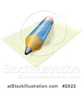 Vector Illustration of a 3d Blue Pencil Resting on Ruled Paper by AtStockIllustration