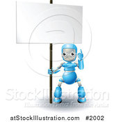 Vector Illustration of a 3d Blue Robot Pointing up at a Blank Sign by AtStockIllustration