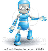 Vector Illustration of a 3d Blue Robot Presenting by AtStockIllustration