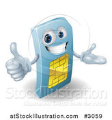 Vector Illustration of a 3d Blue SIM Card Mascot Holding a Thumb up by AtStockIllustration