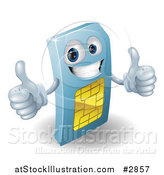 Vector Illustration of a 3d Blue SIM Card Mascot Holding Two Thumbs up by AtStockIllustration