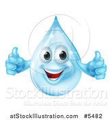 Vector Illustration of a 3d Blue Water Drop Character Holding Two Thumbs up by AtStockIllustration