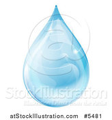 Vector Illustration of a 3d Blue Water Drop with Reflections by AtStockIllustration