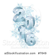 Vector Illustration of a 3d Blue Year 2016 with Snowflakes by AtStockIllustration
