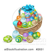 Vector Illustration of a 3d Bow on a Holiday Easter Basket with Eggs by AtStockIllustration