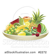 Vector Illustration of a 3d Bowl of Tropical Fruit by AtStockIllustration