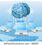 Vector Illustration of a 3d Brain Connected to a Network of Laptops Above a Map by AtStockIllustration