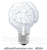 Vector Illustration of a 3d Brain Shaped Light Bulb by AtStockIllustration