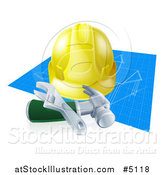 Vector Illustration of a 3d Builder Hardhat and Tools over Blueprints by AtStockIllustration