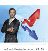 Vector Illustration of a 3d Businessman and Financial Arrows by AtStockIllustration