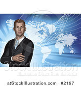 Vector Illustration of a 3d Businessman and World Atlas on Blue by AtStockIllustration