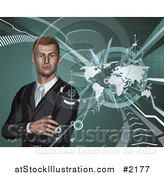 Vector Illustration of a 3d Businessman and World Map by AtStockIllustration