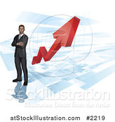 Vector Illustration of a 3d Businessman over a Red Arrow Chart by AtStockIllustration