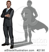 Vector Illustration of a 3d Businessman with a Super Hero Shadow by AtStockIllustration