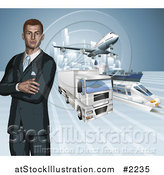 Vector Illustration of a 3d Businessman with Transport Modes by AtStockIllustration