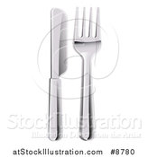 Vector Illustration of a 3d Butter Knife and Fork by AtStockIllustration