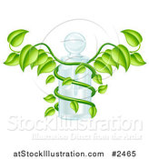 Vector Illustration of a 3d Caduceus Medical Bottle with a Green Vine by AtStockIllustration