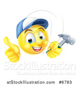 Vector Illustration of a 3d Carpenter Yellow Smiley Emoji Emoticon Face Giving a Thumb up and Holding a Hammer by AtStockIllustration