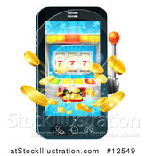 Vector Illustration of a 3d Casino Slot Machine Spitting out Coins from a Mobile Phone Screen by AtStockIllustration
