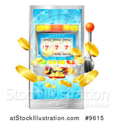 Vector Illustration of a 3d Casino Slot Machine Spitting out Coins from a Smart Phone Screen by AtStockIllustration