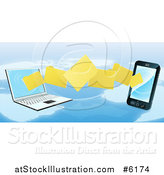 Vector Illustration of a 3d Cell Phone and Laptop Transfering Files over a Map by AtStockIllustration