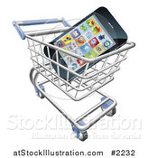 Vector Illustration of a 3d Cell Phone in a Shopping Cart by AtStockIllustration