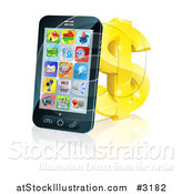 Vector Illustration of a 3d Cell Phone Leaning on a Golden Dollar Symbol by AtStockIllustration