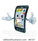 Vector Illustration of a 3d Cell Phone Mascot Holding a Thumb up by AtStockIllustration