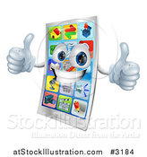 Vector Illustration of a 3d Cell Phone Mascot Holding Two Thumbs up by AtStockIllustration