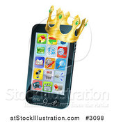 Vector Illustration of a 3d Cell Phone with a Crown by AtStockIllustration