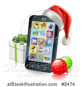 Vector Illustration of a 3d Cell Phone with a Santa Hat Christmas Baubles and Gift Box by AtStockIllustration