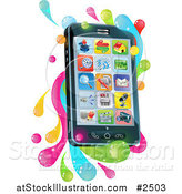 Vector Illustration of a 3d Cell Phone with Apps and Splashes by AtStockIllustration