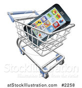 Vector Illustration of a 3d Cell Phone with Apps in a Shopping Cart by AtStockIllustration