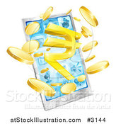 Vector Illustration of a 3d Cell Phone with Coins and a Rupee Symbol Bursting from the Screen by AtStockIllustration