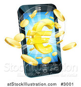 Vector Illustration of a 3d Cell Phone with Gold Coins and a Euro Symbol Bursting from the Screen by AtStockIllustration