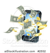Vector Illustration of a 3d Cell Phone with Money Flying Outwards by AtStockIllustration