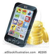 Vector Illustration of a 3d Cellphone Resting Against Gold Coins by AtStockIllustration