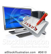 Vector Illustration of a 3d Check List Clip Board over a Desktop Computer by AtStockIllustration