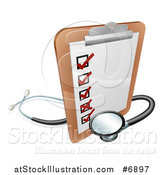 Vector Illustration of a 3d Checklist on a Clip Board with a Stethoscope by AtStockIllustration
